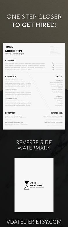 Architect Resume Minimalist CV ONE Page Resume Modern Man Modern - single page resume