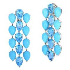 Georg Hornemann Turquoise Blue Topaz Gold Chandelier Earrings