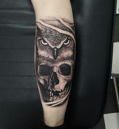 Skull owl tattoos K Angel Tattoo Designs, Unique Tattoo Designs, Unique Tattoos, New Tattoos, Hand Tattoos, Owl Skull Tattoos, Mens Owl Tattoo, Half Sleeve Tattoos For Guys, Full Arm Tattoos