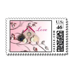Cute Little  Love Birds House Pink US Postage Stamps