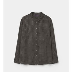 Violeta BY MANGO Printed Flowy Shirt ($80) ❤ liked on Polyvore featuring tops, black, plus size, plus size shirts, womens plus size shirts, print long sleeve shirt, mango shirt and plus size tops