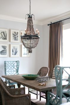 South Shore Decorating Blog: banded linen draperies in burlap color on wrought iron rod