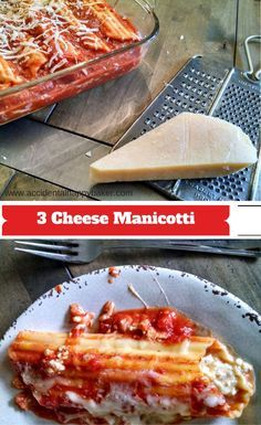 Easy, cheesy and crowd pleasing. This 3 cheese manicotti is one of our family favorites.