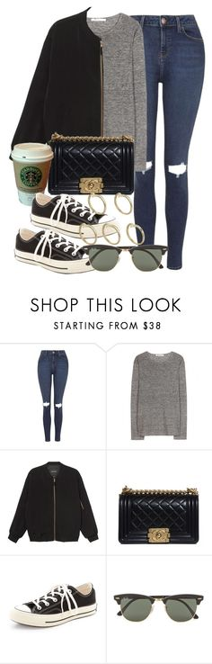 """""""Style #9583"""" by vany-alvarado ❤ liked on Polyvore featuring Topshop, T By Alexander Wang, Monki, Chanel, MANGO, Converse, Ray-Ban and Pieces"""