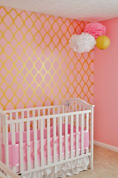 A Diy Stenciled Pink And Gold Nursery Using The Rabat Allover Stencil From Cutting Edge Stencils