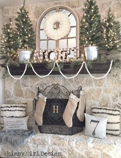 These super soft Flokati inspired pillows and a cozy, faux fur rug from HomeGoods add warmth and texture to our farmhouse inspired Christmas mantle! {Sponsored Pin} 💟 the wreath! Christmas Room, Christmas Mantels, Noel Christmas, Country Christmas, White Christmas, Vintage Christmas, Victorian Christmas, Beautiful Christmas, Christmas Ornaments