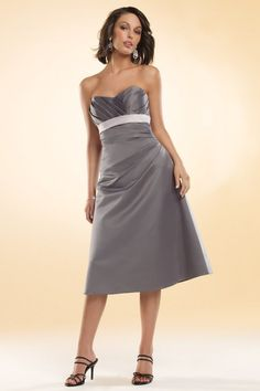A-line Sweetheart Pleated Bustline Empire Waist Sash Satin Bridesmaid Dress-wbm0138, $174.95