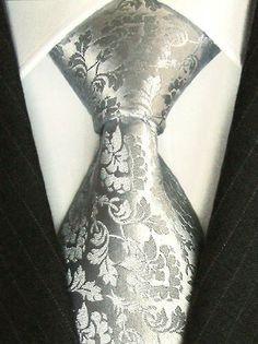 LORENZO CANA Luxury Tie Jacquard Woven Italian Silk Handmade Necktie Ties - Grey Floral Pattern