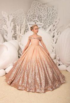 Blush Flower Girl Dress with Sparkling Sequins Birthday | Etsy