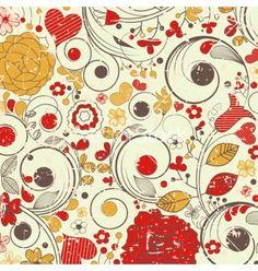 Vintage floral pattern vector by Danussa - Image #551599 - VectorStock
