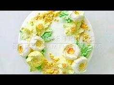 Daffodils and roses Buttercream flower cake - how to make by Olga Zaytseva /CAKE TRENDS 2017 #9 - YouTube