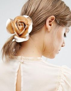 ASOS Rose Gold Faux Leather Rose Hair Tie