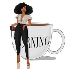 """Glam Marks Illustration on Instagram: """"Let's do this!! Happy Monday Beloveds 🖤"""" Black Girl Quotes, Black Women Quotes, Black Girl Art, Black Women Art, Black Art, Black Girl Magic, Black Girls, Art Girl, Black Cartoon"""