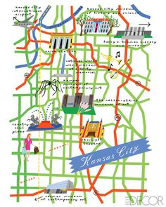 Repin from KCATA The Metro: A colorful map of Kansas City from Elle DECOR.