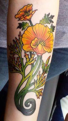 Art Nouveau-inspired California poppy by Mason Larose, Tattoo Zoo, Victoria - Imgur