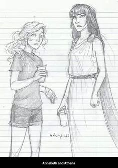 It says 'Annabeth and Athena'. Stupid mortals. It's Annabeth and Reyna from MoA when they are in New Rome