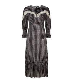 5c07141bc8fc62 SANDRO Marceau Floral Embroidered & Lace Midi Flounce Dress. #sandro #cloth