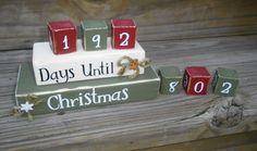 Christmas countdown blocks.  count down blocks.  wood blocks.  home decor.  christmas decor. christmas blocks.. $26.50, via Etsy.
