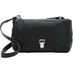 Proenza Schouler Black Leather 'courier' Flap Front Shoulder Bag... ($1,300) ❤ liked on Polyvore featuring bags, handbags, shoulder bags, black, genuine leather handbags, handbags shoulder bags, leather man bag, genuine leather shoulder bag and leather handbag purse