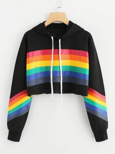 Rainbow Striped Print Crop HoodieFor Women-romwe