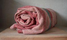Vintage Pink Rose Striped Wool Blanket. Large by BlanketsAndCie, $62.00