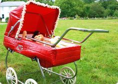 vintage red stroller full of baby chicks