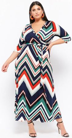Plus Size Belted Chevron Maxi Dress