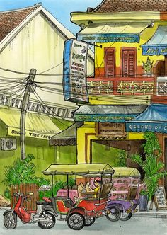 A street in Siem Reap, Cambodia. drawing by Tommy Kane.