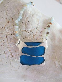 Necklace - In Blue - Unique Sterling Silver anodized Alluminium Alexandrite Handmade OOAK Jewelry JOR