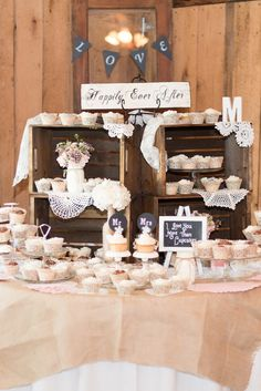 """I love you more than cupcakes"" rustic wedding cupcake display. Wedding Cupcake Table, Vintage Wedding Cupcakes, Fall Wedding Cupcakes, Bridal Shower Cupcakes, Wedding Cake Rustic, Rustic Cake, Cool Wedding Cakes, Wedding Desserts, Wedding Cake Toppers"