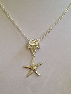 Bridal Starfish and Crystal Necklace by joytoyou41 on Etsy, $30.00