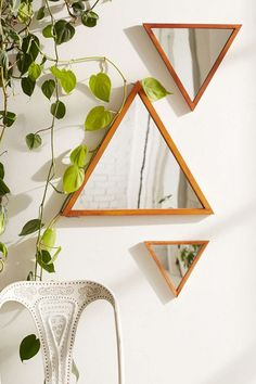 Triangle mirrors from Urban Outfitters Geo Terrariums, Crystals and Wall Hangings: Modern Boho Style