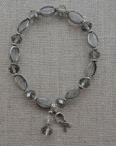 012   Gray Crystal Brain Cancer Awareness by BraceletsByMarilyn, $4.00