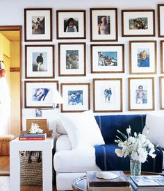Ralph Lauren's Montauk, NY Beach House // Seating area with gallery wall of frames.