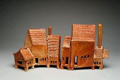 "Country Pottery Compound, 2004 9""h X 13""w X 4""d Stoneware Slab Built w Shino Glaze - 2 Sections, Rene Murray"
