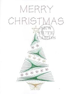 The Latest Trend in Embroidery – Embroidery on Paper - Embroidery Patterns Embroidery Cards, Embroidery Patterns, Christmas Tree Cards, Merry Christmas, Xmas, Stitching On Paper, Pin Card, Sewing Cards, String Art Patterns