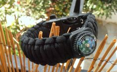 NEW ITEM!!! Survival bracelet ''Black is Beautiful'' project with mini Compass and 3/4''plastic buckle 3in1 by LifesavingBracelets on Etsy