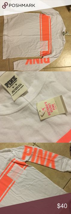 Pink Victoria's Secret lifeguard shirt brand new!! Long sleeve pocket tee with neon orange stripe across chest & Neon orange PINK down arm! PINK Victoria's Secret Tops Tees - Long Sleeve