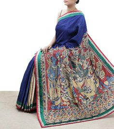 Blue Tussar Silk Kalamkari Saree