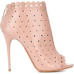 Alexander McQueen lasercut booties ($1,330) ❤ liked on Polyvore featuring shoes, boots, ankle booties, pink booties, stiletto boots, pink stilettos, leather boots and real leather boots