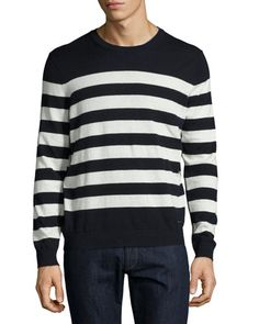 BURBERRY Seaborne Striped Cashmere-Cotton Sweater, Navy. #burberry #cloth #