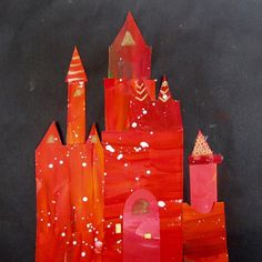 Fairy tale castle inspired by Mary Blair. ✨j Student art in painted paper and sharpie, 4th grade.