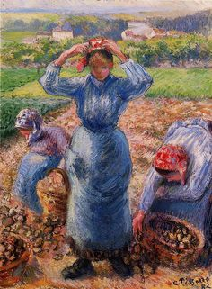 Peasants Harvesting Potatoes - Camille Pissarro
