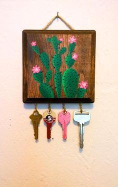 Cactus Print / Succulent Favor / Succulent Sign / Key Holder / Key Ring / Key Hook / Necklace Display / Necklace Stand / Gift Women / Boho