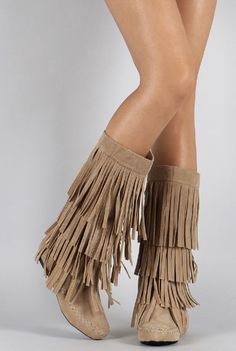 Details about Fringe Boots Indian Cherokee 3 Tier Layer Faux Suede ...