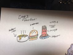 4/27/15 ART CHALLENGE DAY 3: favorite food! I couldn't choose just one...