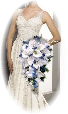 Royal/Cabolt Blue, Rose & Calla Lily Wedding Bridal Bouquet