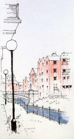 31 Ideas for landscaping sketch urban Landscape Sketch, Landscape Drawings, Architecture Drawings, Watercolor Landscape, Pen And Watercolor, Watercolor Paintings, Art Sketches, Art Drawings, City Sketch