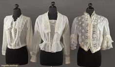 """Cotton blouses, 1910-1918.  Two of Armistice style: one with Irish crochet inserts and one with chemical lace trim; one open front and flounced sleeves, all 3 with bodice 34""""-36"""""""
