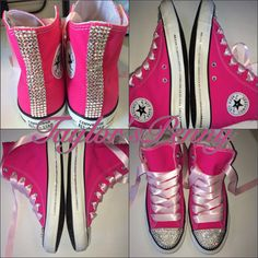 Women's Custom Bling Sneakers Converse  by TaylorsPenny on Etsy, $160.00  these be cute to wear for a sweet 16 party or to wear with any pink color theme girly parties or wear them when ever you want I know would if I own these :)  <3